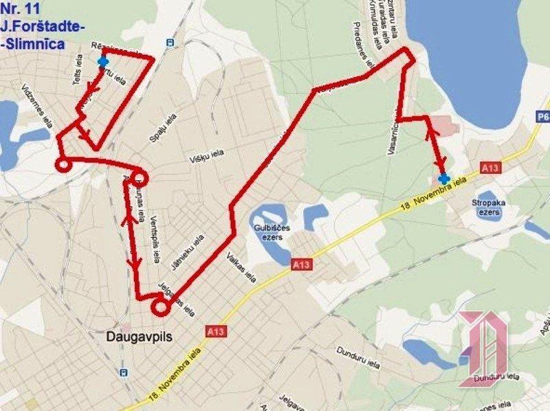 Схема маршрута 11 автобуса